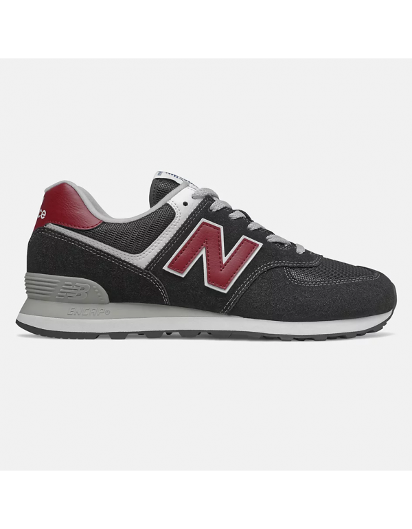 New Balance 574 Black with nb scarlet