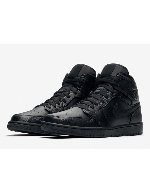 "Air Jordan 1 Mid Returning in "" Triple Black"" 554724-091"