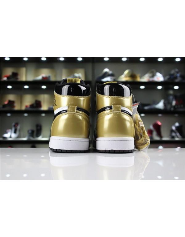 Mens and Womens Air Jordan 1 Retro High OG NRG Gold Toe Black/White-Metallic Gold