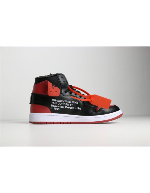 Off-White x Air Jordan 1 Banned Black/University R...