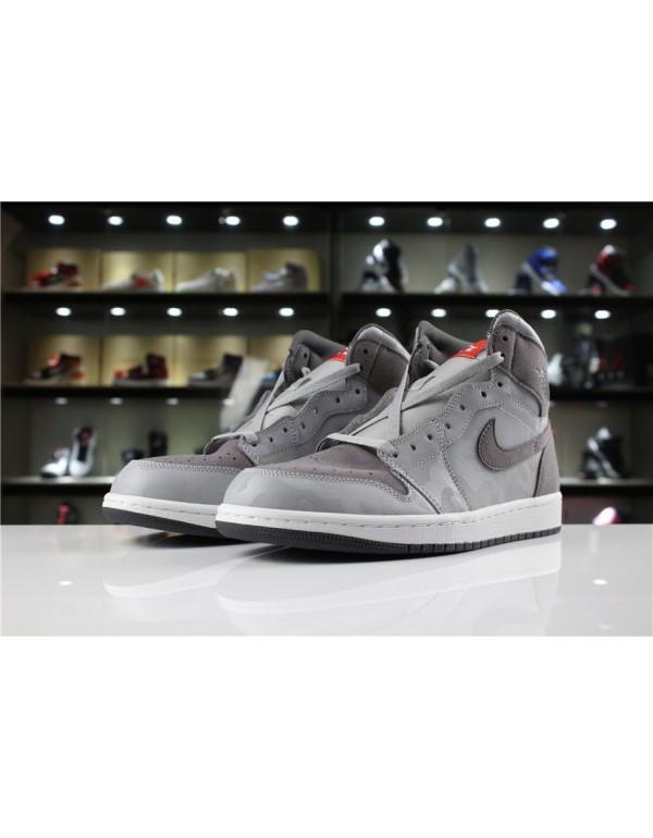 Newest Air Jordan 1 Retro High Camo Pack Wolf Grey/Dark Grey-White