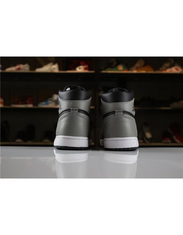 Men's Size Air Jordan 1 Retro High OG Shadow Black/Medium Grey-White 555088-013