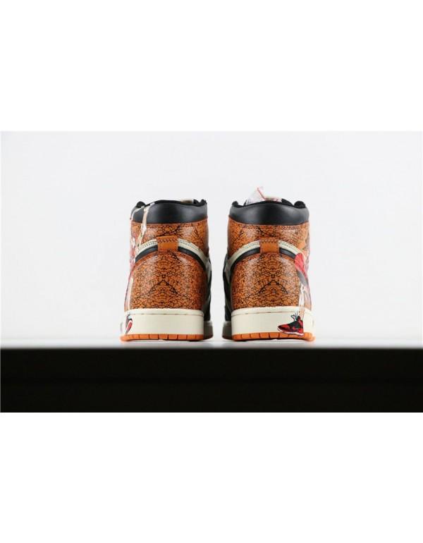 Air Jordan 1 Retro High OG Shattered Backboard Hanamichi Sakuragi Print Men's Basketball Shoes