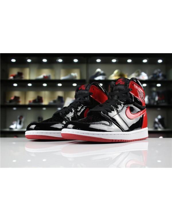 2018 Air Jordan 1 High OG NRG Patent Leather Banned Black/White-University Red 861428-061