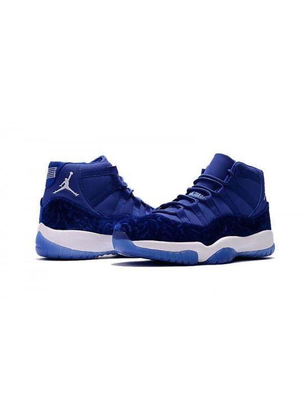 2018 Air Jordan 11 Blue Velvet Royal Blue-White Men's and Women's Size