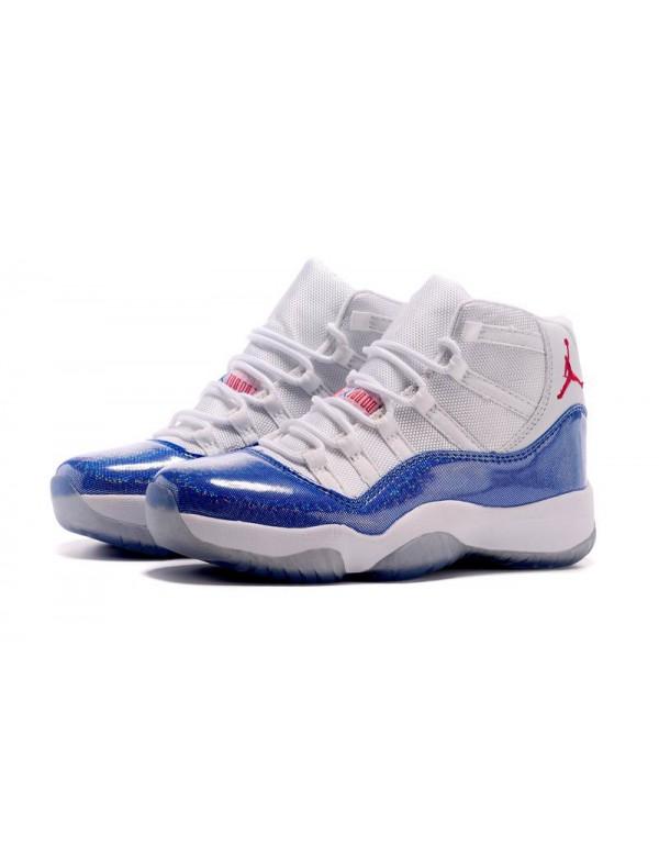 New Air Jordan 11 GS White Blue Pink Basketball Sh...