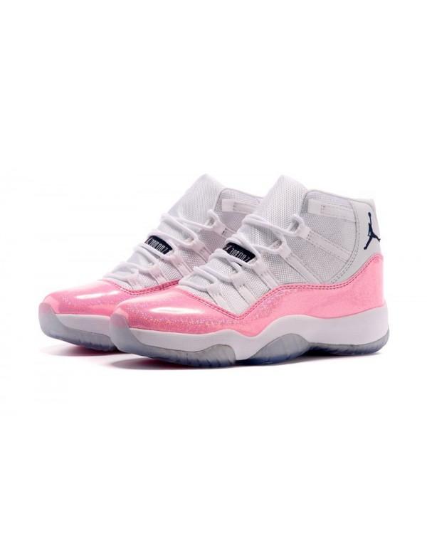 New Air Jordan 11 GS White Pink Black Basketball S...