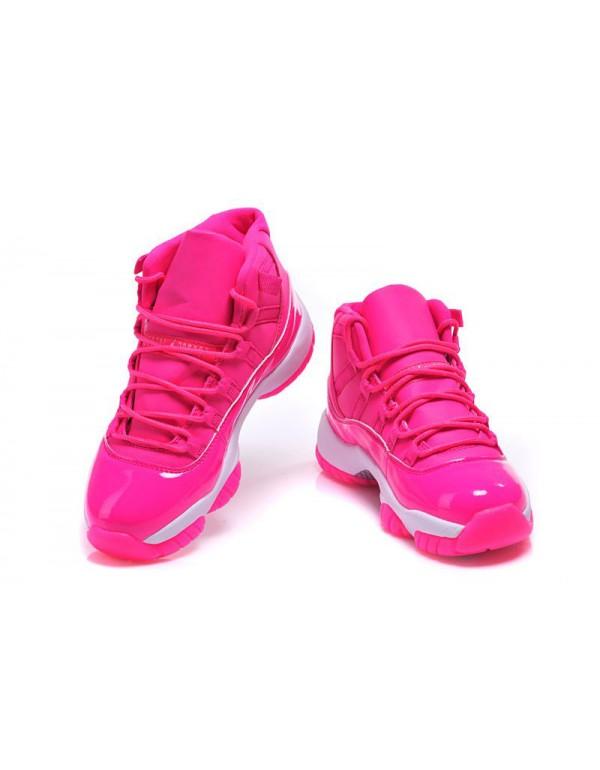 Women's Air Jordan 11 GS Pink Everything Pink Whit...