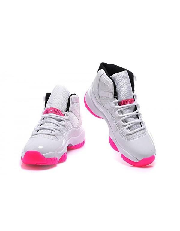 Women's Air Jordan 11 GS White Pink Black Shoes Fo...