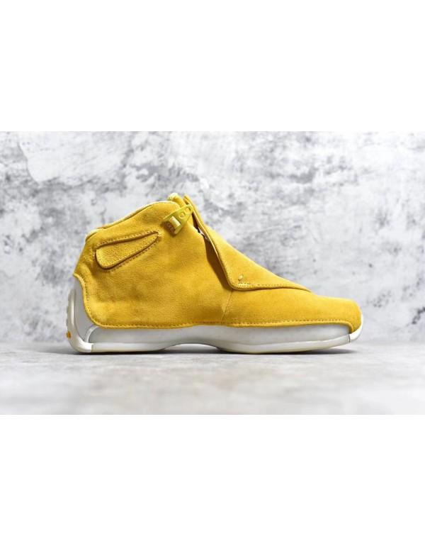 Air Jordan 18 Yellow Suede Yellow Ochre/Sail AA249...
