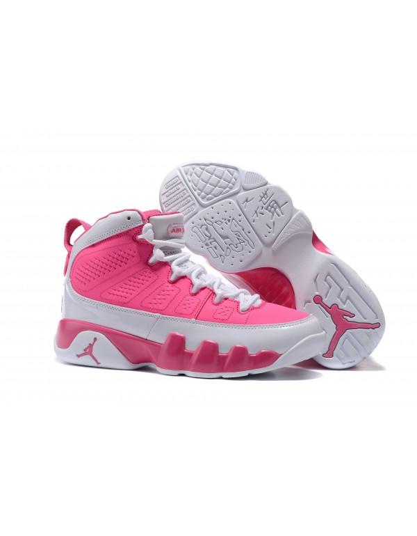 Women's Air Jordan 9 GS Peach Pink/White Basketbal...