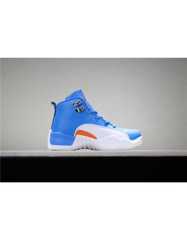 Kid's Air Jordan 12 Blue/White-Orange PE
