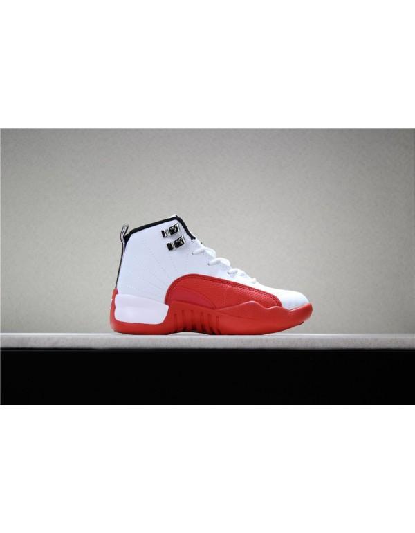 Kid's Air Jordan 12 Cherry White/Gym Red Basketbal...