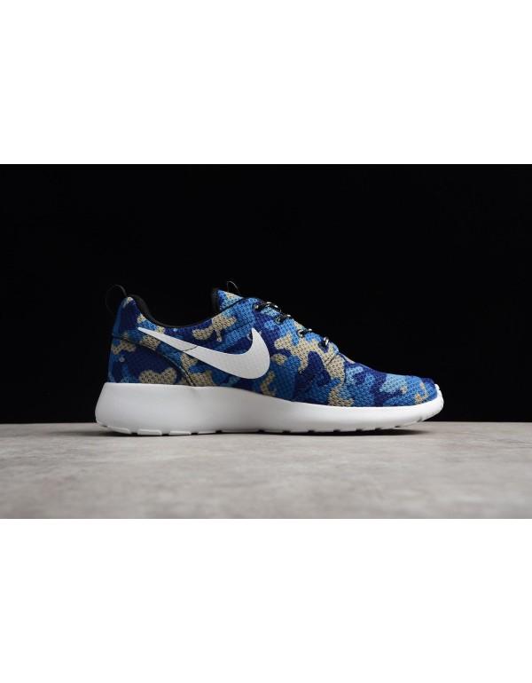Nike Roshe Run ID White/Camo Blue Running Shoes 94...