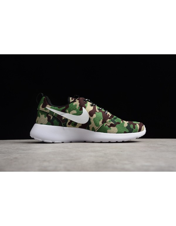 Nike Roshe Run ID White/Camo Green Running Shoes 9...