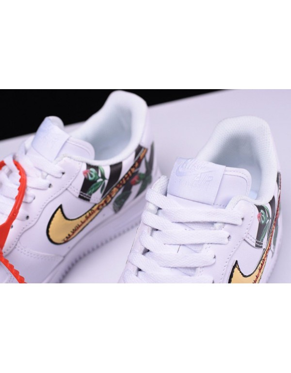 Custom Off-White x Nike Air Force 1 Low Flower In White Free Shipping