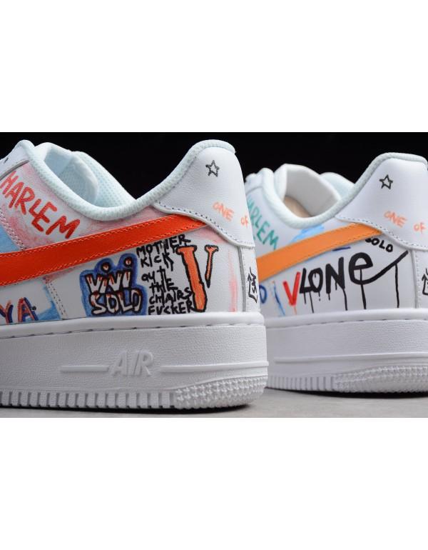 Custom Pauly x Vlone Pop Nike Air Force 1 Low Graffiti Harlem White AA5360-100