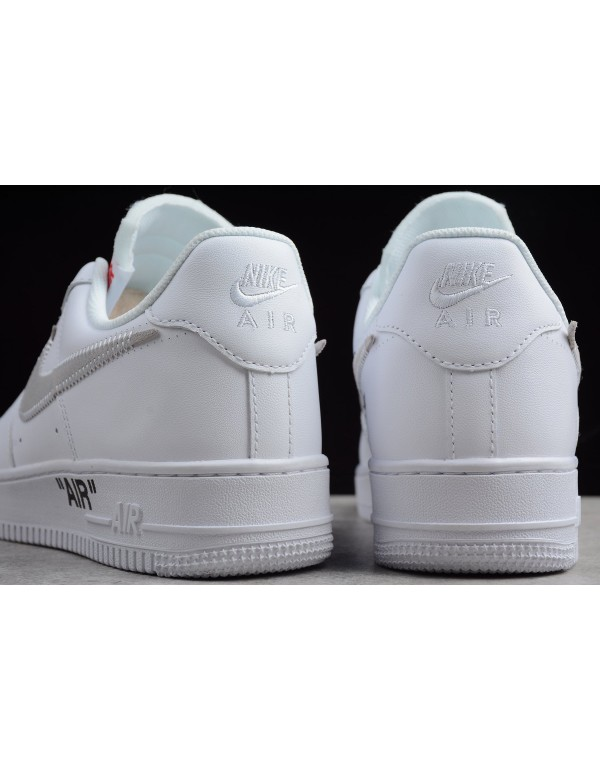 Men's and Women's OFF-WHITE x Nike Air Force 1 Low White/Black-Varsity Red AA3825-100