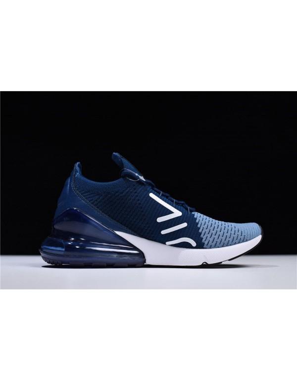Men's Nike Air Max 270 Flyknit Work Blue/White-Bra...