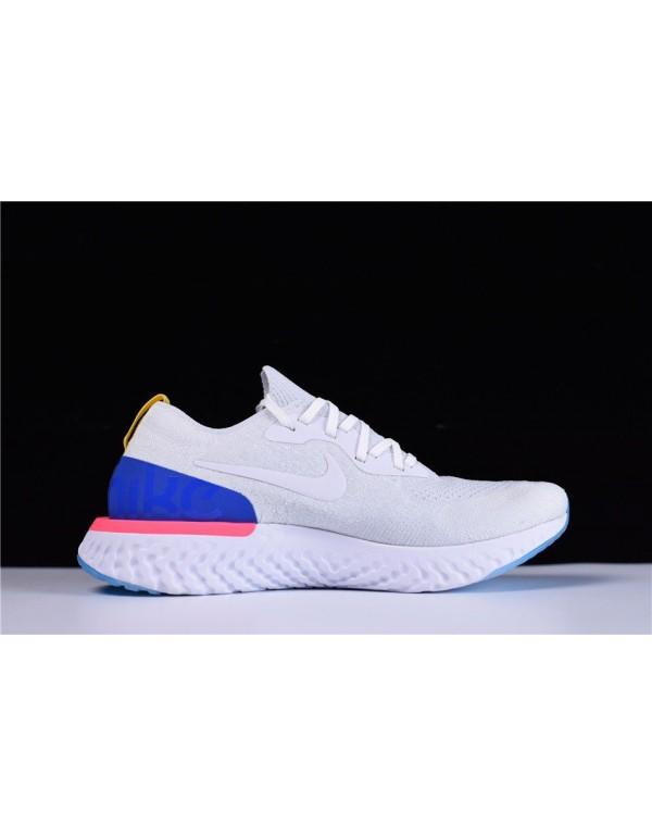 Men's and Women's Nike Epic React Flyknit White/Ra...