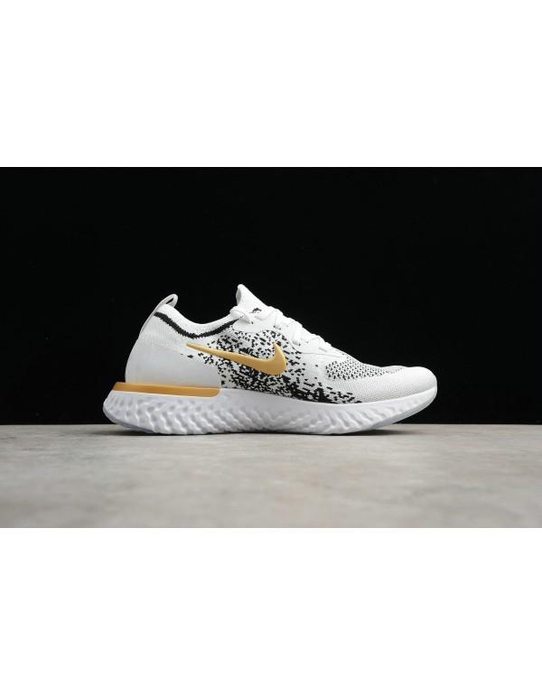 Men's Nike Epic React Flyknit White/Black-Gold AQ0...