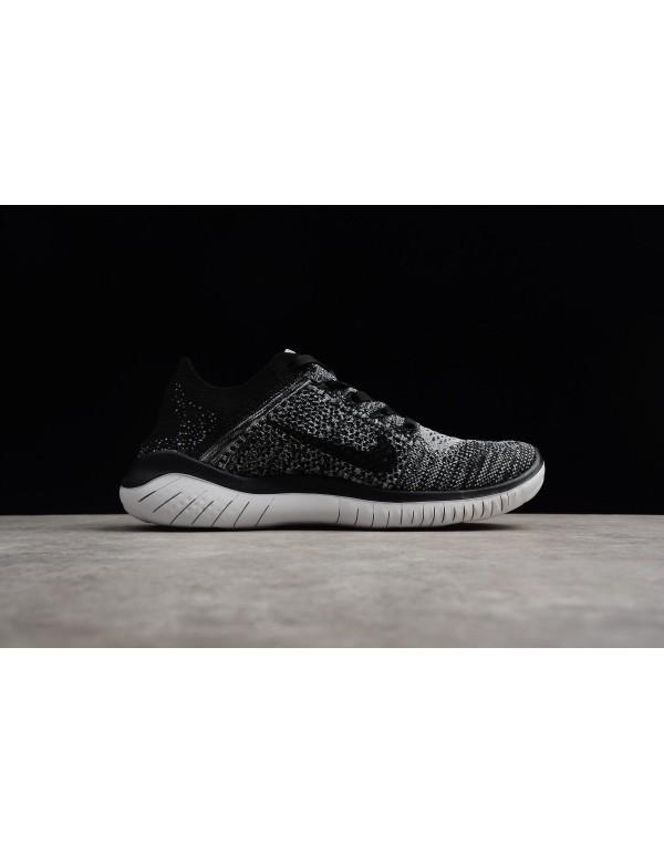 Nike Free Run Flyknit 2018 White/Black Men's Runni...