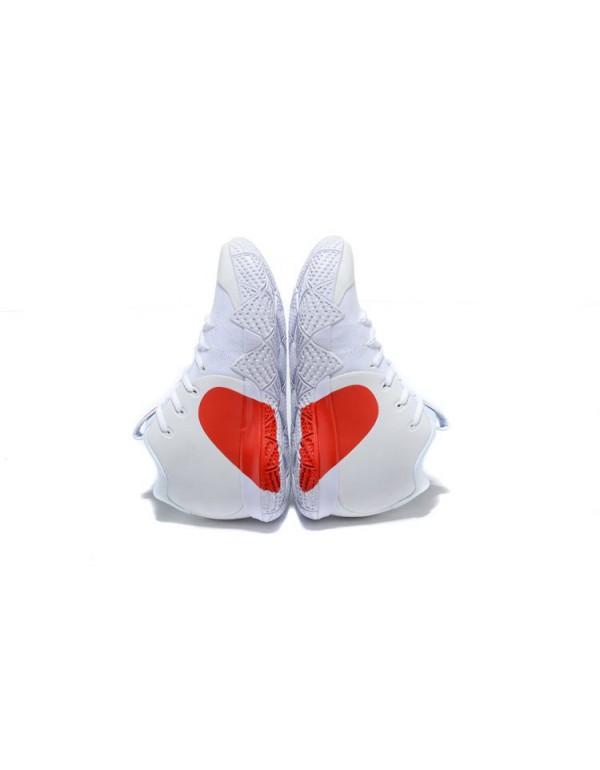 Men's Nike Kyrie 4 Half Heart White Red Basketball...