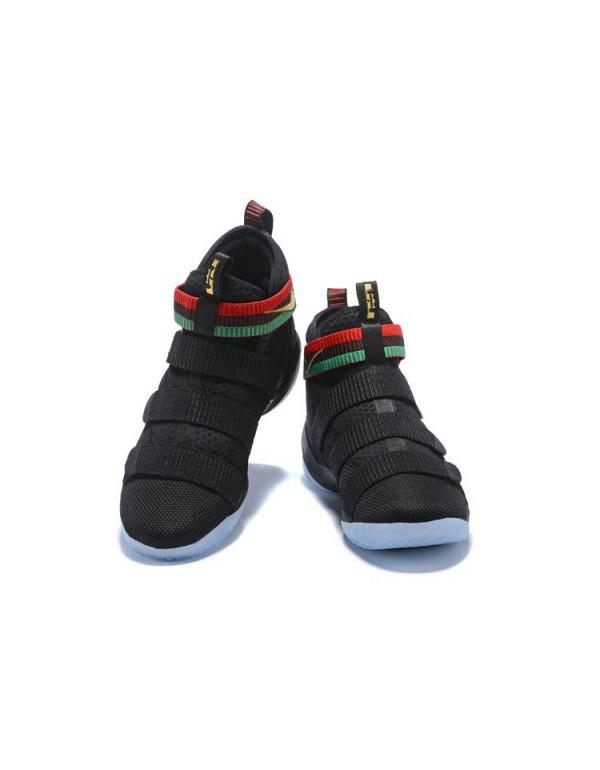 Nike LeBron Soldier 11 BHM Black Green Red Men's B...