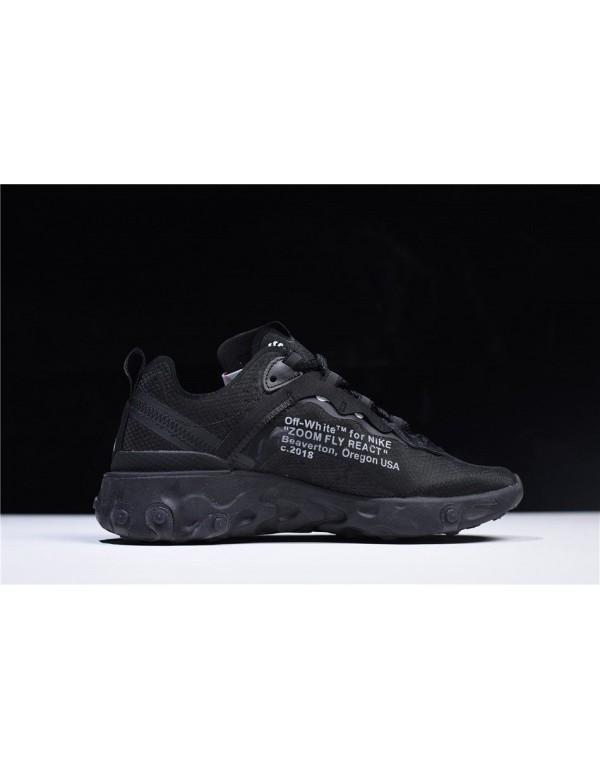 2018 Off-White x Nike React Element 87 Black AQ006...