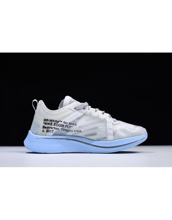 2018 Off-White x Nike Zoom Fly SP White/Light Blue...