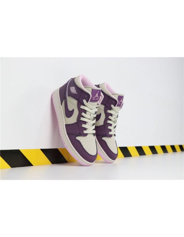 2018 Nike Air Jordan 1 Mid GS Pro Purple/Desert Sa...