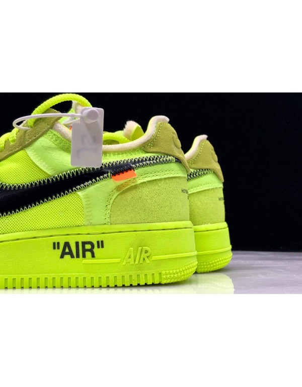 """2018 Off-White x Nike Air Force 1 AF1 Low """"Volt"""" AO4606-700"""