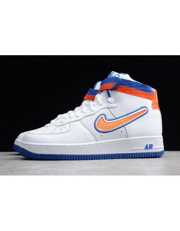 """2018 Nike Air Force 1 High Sport """"Knicks"""" White/Team Orange-Game Royal AV3938-100"""