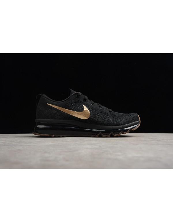 Nike Flyknit Air Max Black Gold Men's Running Shoe...
